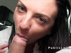 Horny amateur fucks for money in public