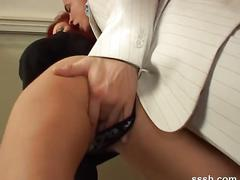 Gorgeous redhead tastes her own pussy juices from her lovers fingers
