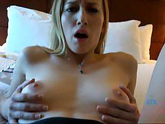 Blonde babe plays with a cock