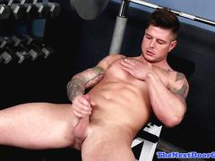 Ripped gym stud jerking his thick muscle