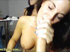 Busty babe brought home her professor for threesome oral lessons