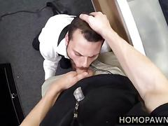 Guy customer fucked straight in his tight ass inside the toilet room