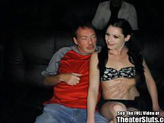 Anal hammered babe in porno theatre