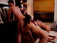 Two hunks go trough a hazing ritual at fraternity