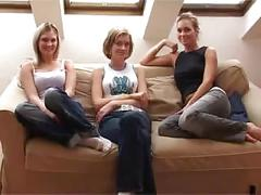 Lesbian group sex with dildo