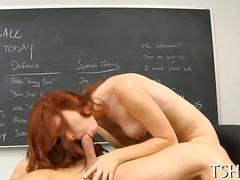 Redhead schoolgirl falls in love with teachers dick