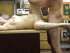 Short blonde hair gal nailed by pawn guy at the pawnshop