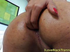 Nubian tranny beauty jerking her cock