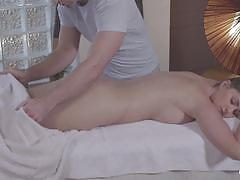 Hot russian babe gets massaged then fucked