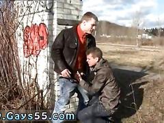 Two horny guys ass fucking out in public standing up