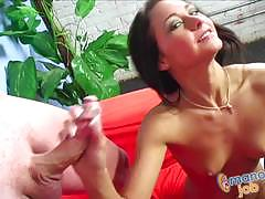 Brunette jessica valentino tugs on this hard cock