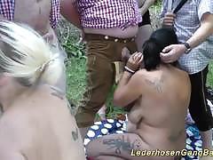 Babes enjoy outdoor orgy