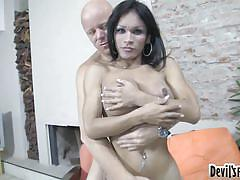 Bald dude fucks a busty tranny @ transsexual prostitutes #64