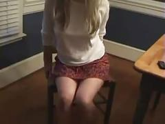 Blonde farts in chair
