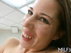 Milf amateur with busty boobs riding dick in an office