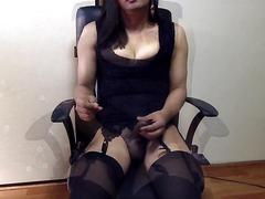 masturbation, webcam, solo, stockings, tranny