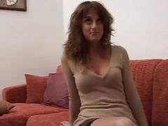Hairy italian brunette picked up and filmed during striptease and masturbation