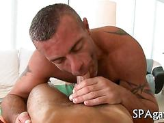 Oiled up guy gets his asshole fucked apart during massage