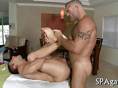 Stud masseur nailing a guys hot ass doggy style