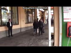 Wild pickup fuck in public place