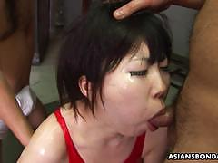 Asian babe takes lots of cock