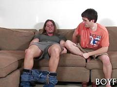 Shy twink gets sucked and fucked