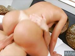 Big round boobs shemale asshole screwed bareback in bed