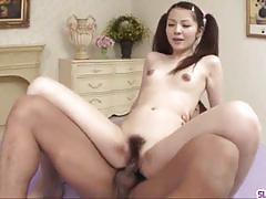 Japanese amateur gets her hairy pussy drilled