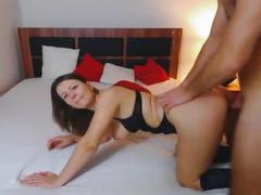 Wild mature couple having wild sex on bed