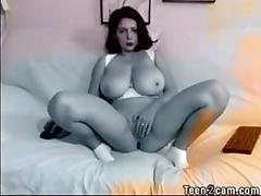 Sexy brunette with amazing tits and red lips masturbating clip