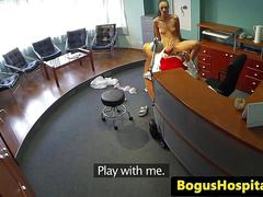 Doggystyled euro patient enjoys doctors cock