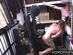 Horny pawnshop personnel banged their customer virgin ass in the shop