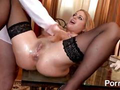 blonde, blowjob, milf, uniform, pov, lingerie, ass-fingering, ass-licking, shaved-pussy, big-tits, big-boobs, doggy-style, fingering
