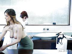 massage, lesbians, big tits, babe, high heels, stockings, ass rubbing, boobs groping, scientists, all girl massage, nuru network, stella cox, bree daniels