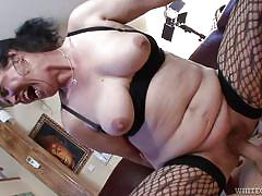 granny, saggy tits, stockings, blowjob, hairy pussy, bbw mature, sideways, cock riding, white ghetto, fame digital, marianna x