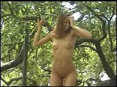 Sexy brunette exhibitionist strips and flashes in public