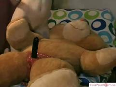 Girl rides toy bear part 1