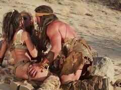 Wild barbarian threesome in the desert underworld