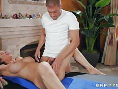 Busty maid gets fucked on the massage table