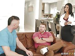 milf, handjob, big ass, big tits, big cock, blowjob, shower, brunette, from behind, standing fuck, real wife stories, brazzers, charles dera, rose monroe