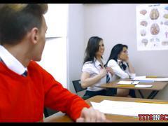 Slutty schoolgirl sucks him off in class