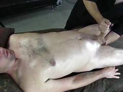 Hot newbie gets oiled and jerked