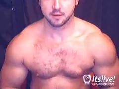 Sleazy solo show of muscled dude