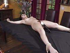 Tied brunette getting her hairy cunt vibrated