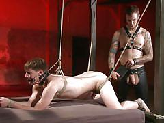 tattoo, handjob, anal, bdsm, butt plug, tied up, from behind, gay, electrodes, bound gods, kink men, christian wilde, dakota wolfe
