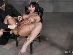 milf, bdsm, asian, black hair, ropes, metal hook, hot wax, tied on chair, hard tied, mia li