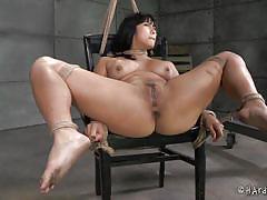milf, bdsm, asian, black hair, ropes, metal hook, hot wax, tied on chair, hard tied, mia li