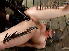 milf, bdsm, vibrator, blindfolded, bondage device, clothespins, stick with dildo, restraints, device bondage, kink, dahlia sky, orlando