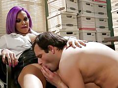 Horny ladyboy getting her feet licked by an office guy