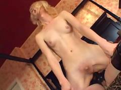 shemale, dick, flapping, threesome, slave, domination, submission, leather, bondage, fucking